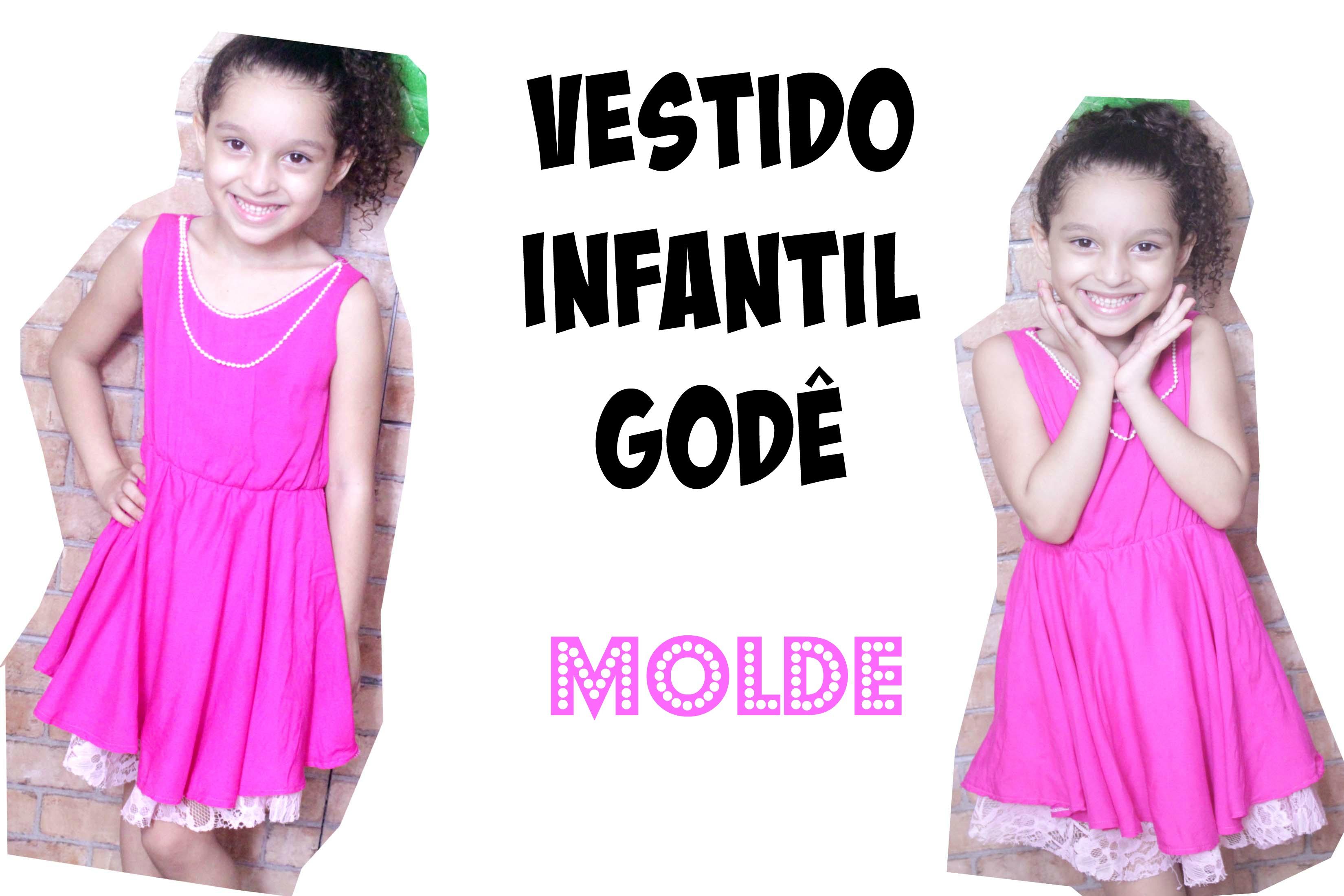 3e755c84a VESTIDO INFANTIL GODÊ MOLDE - KIDS DRESSES PATTERN