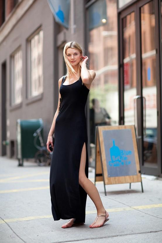 vestido longo com rasteirinha
