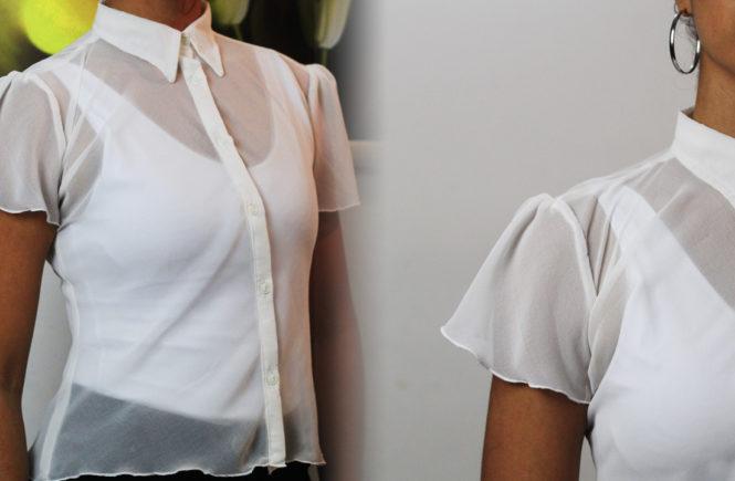 487ef17864cb9 Passo a passo de molde e costura dessa blusa delicada com croqui de moda  pra deixar seu look super feminino e leve. Fabricada em tecido de chiffon  tem manga ...