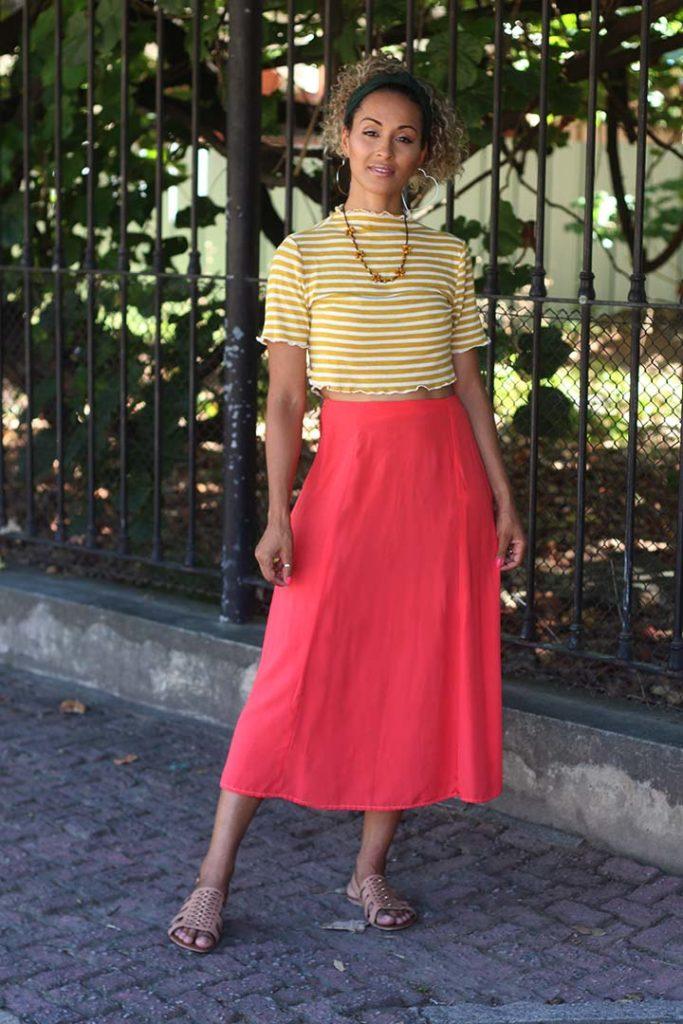 dayse costa,diy,modelagem,modelista,costura,modelo de saia,skirt,midi,saia com recortes,saia longa,saia evasê,living coral,coral,